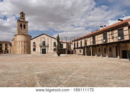 Main square and Santa Maria la Mayor church Arevalo Avila province Spain