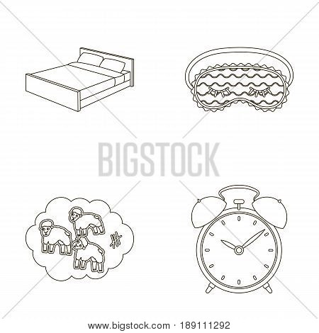 A bed, a blindfold, counting rams, an alarm clock. Rest and sleep set collection icons in outline style vector symbol stock illustration .