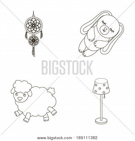 Dream catcher, soft toy sheep and rabbit, floor lamp. Rest and sleep set collection icons in outline style vector symbol stock illustration .