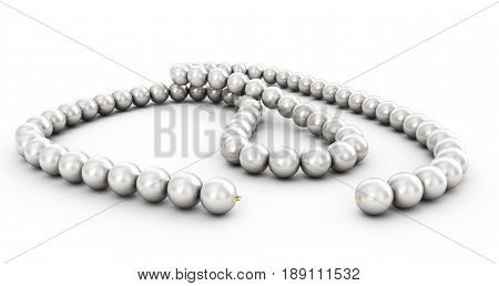 pearl necklace isolated 3d rendering Fashion, Accessory, Symbol, Icon, Nacre, Luxurious, Elegant, Shadow, Gradient, Realistic, Shell, Orb