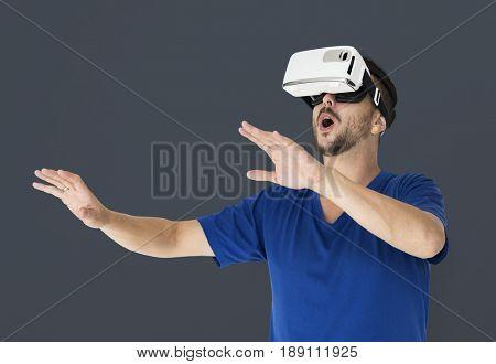 A man using a visualising reality gadget