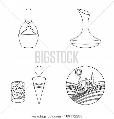 A bottle of wine in a basket, a gafine, a corkscrew with a cork, a grape valley. Wine production set collection icons in outline style vector symbol stock illustration .