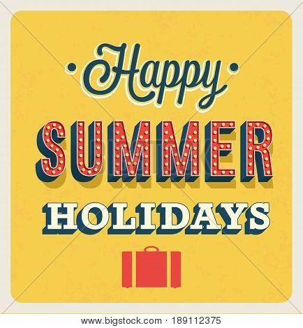 Happy Summer Holidays typographic design. Vector illustration.