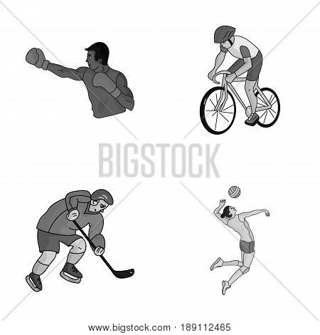 Cycling, boxing, ice hockey, volleyball.Olympic sport set collection icons in monochrome style vector symbol stock illustration .