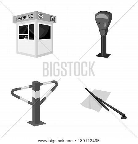 A parking lot, a parking meter, a check for services, a barrier. Parking zone set collection icons in monochrome style vector symbol stock illustration .