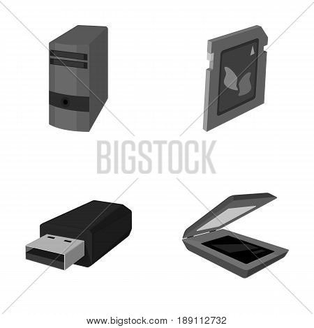 A system unit, a flash drive, a scanner and a SD card. Personal computer set collection icons in monochrome style vector symbol stock illustration .