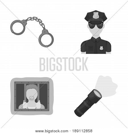 Handcuffs, policeman, prisoner, flashlight.Police set collection icons in monochrome style vector symbol stock illustration .