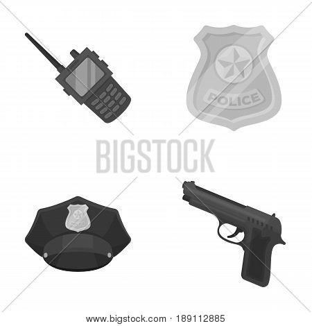 Radio, police officer s badge, uniform cap, pistol.Police set collection icons in monochrome style vector symbol stock illustration .