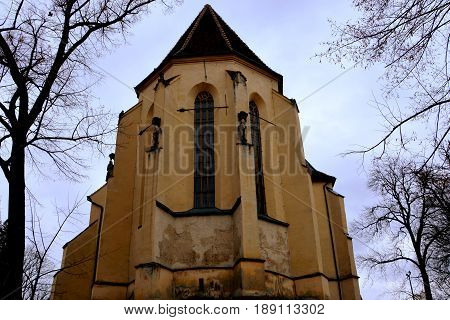 Lutheran church.  Medieval city Sighisoara. Urban landscape in the downtown of the medieval city Sighisoara, Transylvania