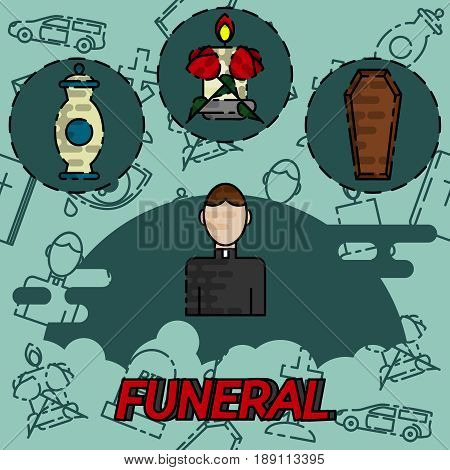 Funeral flat concept icons with cemetery and mourning flat icons isolated vector illustration