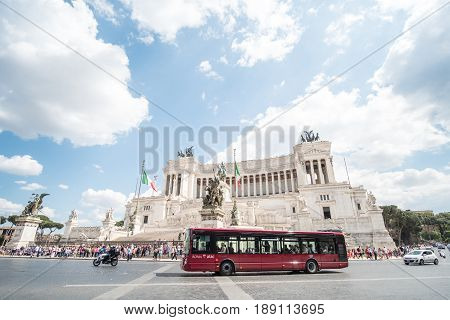 Rome, Italy 16 May 2017 : People Around Altar Of The Fatherland Or Altare Della Patria, Known As Nat