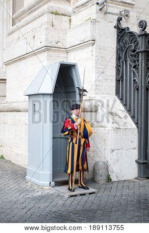 Vatican City 17 May 2017 : The Pontifical or Papal Swiss Guard responsible for the safety of the Pope standing in Vatican.