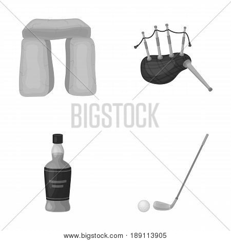 Stone monument, bagpipe, whiskey, golf. Scotland country set collection icons in monochrome style vector symbol stock illustration .