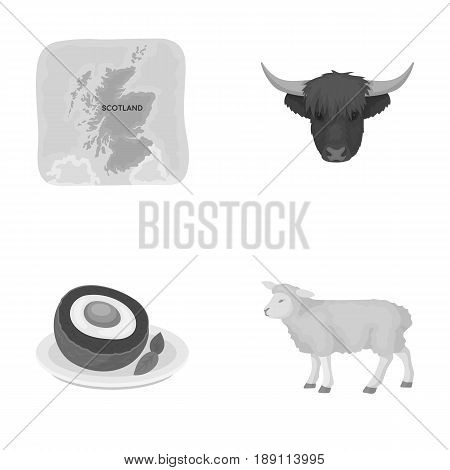 Territory on the map, bull s head, cow, eggs. Scotland country set collection icons in monochrome style vector symbol stock illustration .