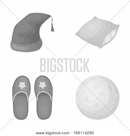 Night cap, pillow, slippers, moon. Rest and sleep set collection icons in monochrome style vector symbol stock illustration .