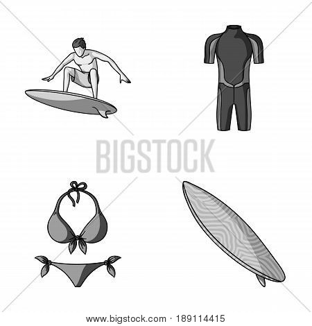 Surfer, wetsuit, bikini, surfboard. Surfing set collection icons in monochrome style vector symbol stock illustration .