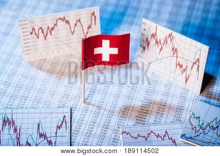 Flag of Switzerland with rate tables and graphs for economic development.