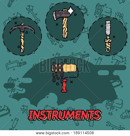 Instruments flat concept icons, construction tools icons set.