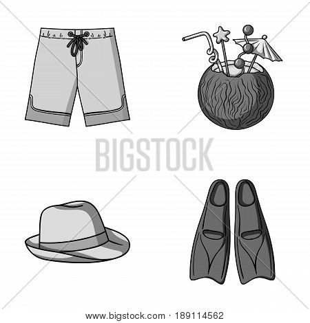 Swimming trunks, cocktail with coconut, panama and flippers. Surfing set collection icons in monochrome style vector symbol stock illustration .