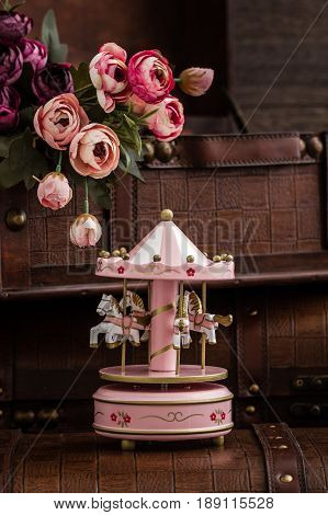 Pink Wooden Carousel Horses With Old Vintage Look