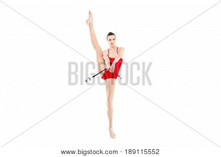 Flexible Rhythmic Gymnast Training With Clubs Isolated On White