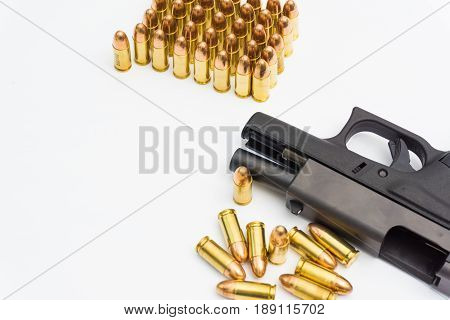 Black Polymer 9Mm Pistol And Full Metal Jacket Bullets