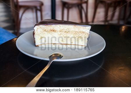 Close up souffle cake on white plate in restaurant