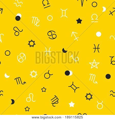 Black and white zodiac signs and geometric shapes on yellow background. Stylish abstract seamless pattern in trendy style Vector illustration