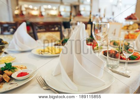 Cold appetizers and salads on the wedding table