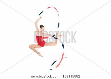 Young Caucasian Woman Rhythmic Gymnast Jumping With Rope Isolated On White