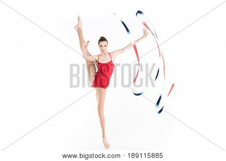 Young Caucasian Woman Rhythmic Gymnast Exercising With Colorful Rope