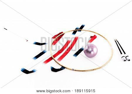 colorful rhythmic gymnastics apparatus mockup isolated on white