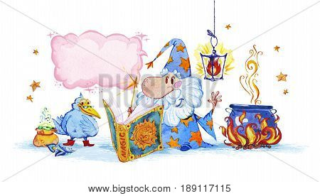 Artistic watercolor hand drawn magic illustration with stars wizard and magic atmosphere isolated on white background. Fairy tale magician saying magic spell. Children illustration.