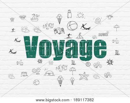 Travel concept: Painted green text Voyage on White Brick wall background with  Hand Drawn Vacation Icons