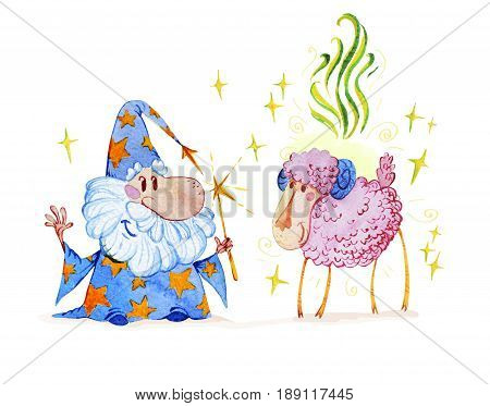 Artistic watercolor hand drawn magic illustration with stars wizard and pink sheep isolated on white background. Fairy tale magician. Children illustration.