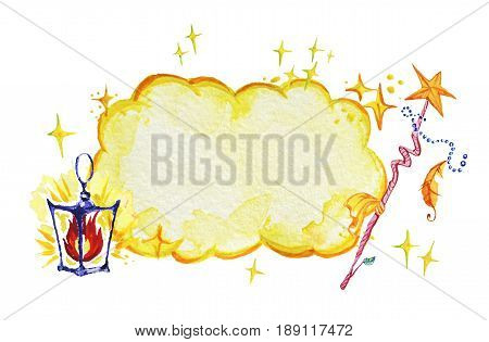 Artistic watercolor hand drawn magic illustration with fairy yellow cloud stars wizard wand and lantern isolated on white background. Fairy tale magician. Children illustration.