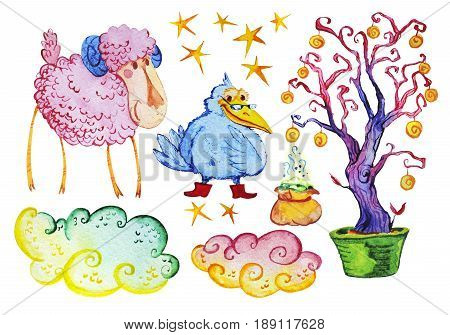 Watercolor artistic collection of magic hand drawn elements design isolated on white background. Magic powder bag tree clouds wise crow and cute lamb set. Good for fairy tale children illustration.