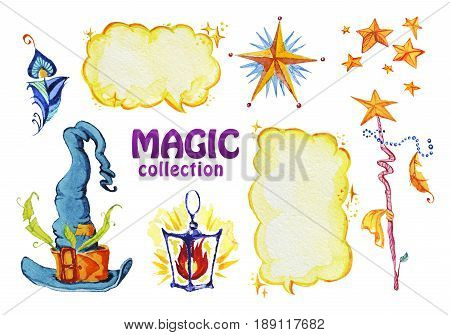 Watercolor artistic collection of magic hand drawn elements design isolated on white background. Magic hat feather wand lantern and stars set. Good for fairy tale children illustration.