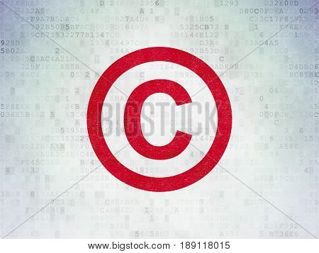 Law concept: Painted red Copyright icon on Digital Data Paper background