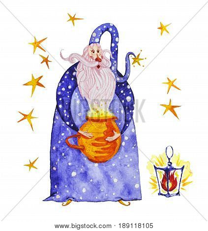 Watercolor artistic collection of magic hand drawn elements design isolated on white background. Wizard splattered stars magic pot and and lightening fire set. Fairy tale children illustration.