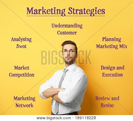 Scheme of MARKETING STRATEGIES and manager on yellow background