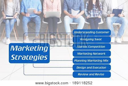 Scheme of MARKETING STRATEGIES and managers on background