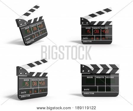 Movie Clapper Board Collection High Quality 3D Render Isolated On White