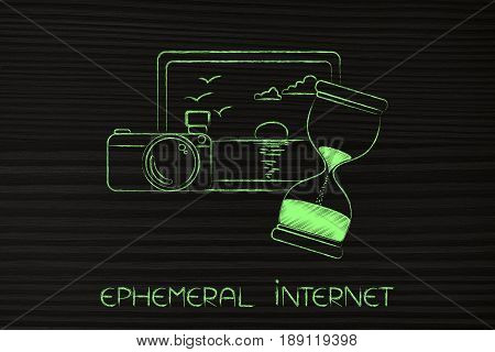 Photograph And Cameran Next To Hourglass, Ephemeral Internet