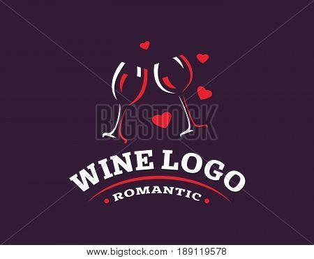 Wineglass logo - vector illustration, emblem design on dark background
