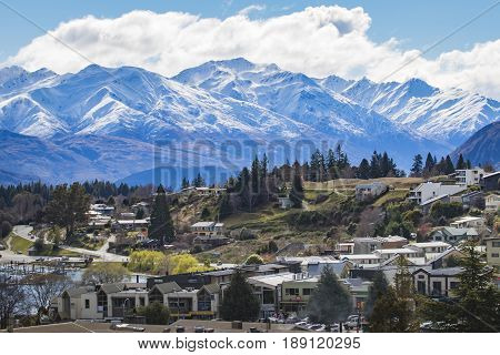 WANAKA TOWN NEW ZEALAND - SEPTEMBER 52015 : beautiful scenic of wanaka town most popular traveling destination in south island new zealand