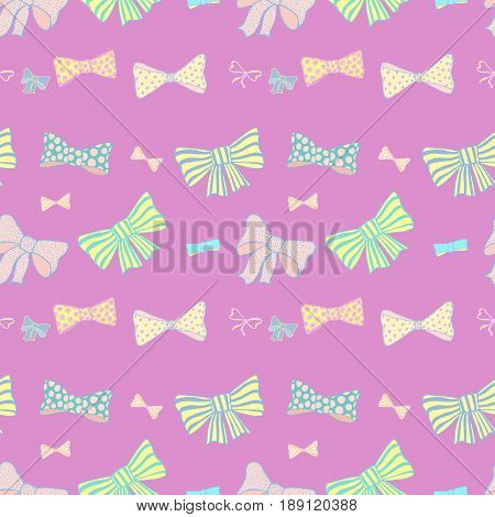 Seamless pattern with hand drawn bow-ties on pink background. Doodles vector illustration.