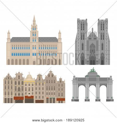 City sights. Brussels architecture landmark. Belgium country flat travel elements. Cathedral of St. Michael and St. Gudula. Town Hall on Grand Place Grote Markt. The triumphal arch in the park of the fiftieth anniversary.