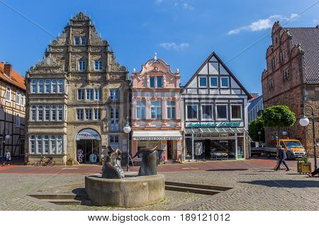 STADTHAGEN, GERMANY - MAY 22, 2017: Sculpture on the central market square of Stadthagen, Germany