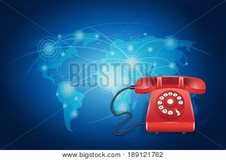 Contact Us Concept : Red phone with blue world map background. (3D Illustration)